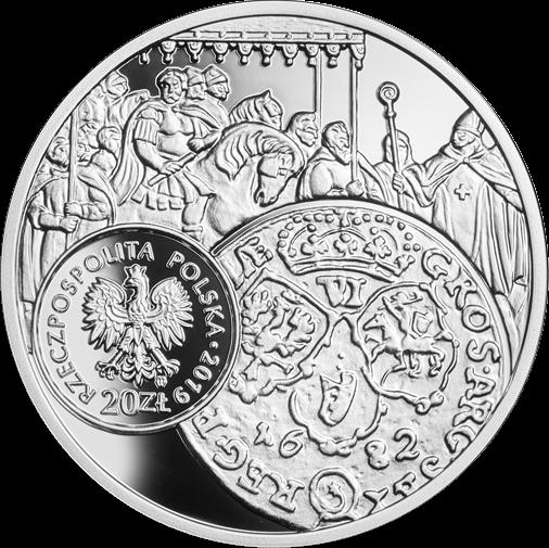Полша монета 20 злотых Шостак 1682 года, аверс