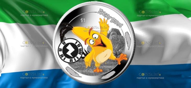 Сьерра-Леоне монета 1 доллар птица Чак