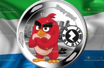Сьерра-Леоне монета 1 доллар птица Ред