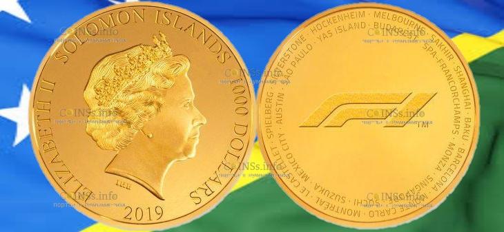 Соломоновы острова монета 1000 доллар Формула-1 2019