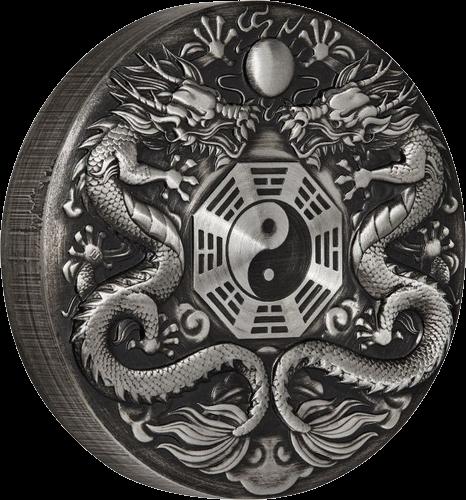Тувалу монета 2 доллара двойной дракон, реверс