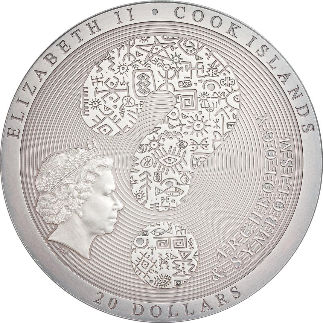 Острова Кука монет 20 новозеландских долларов Колесо Сансары, аверс