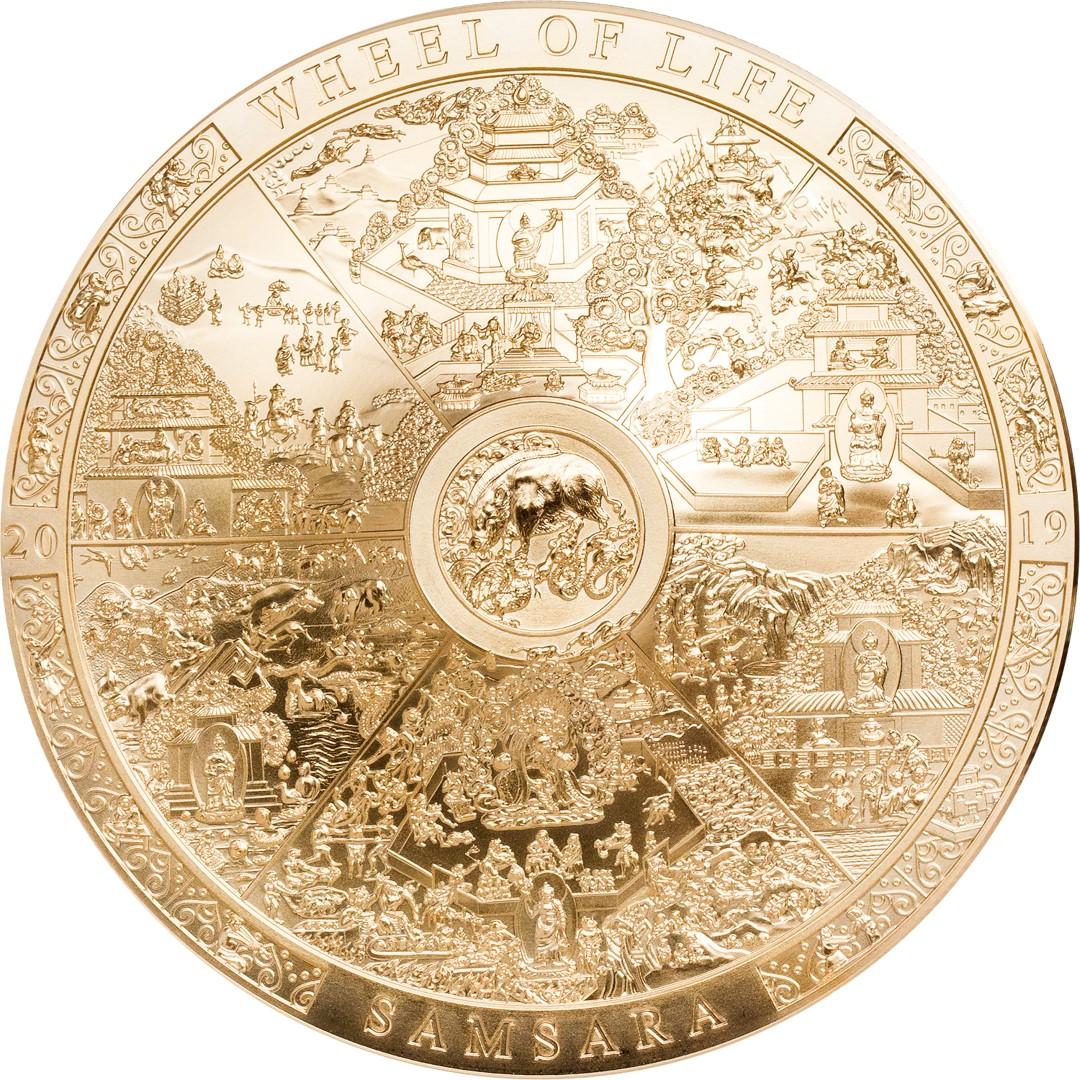 Острова Кука монет 20 новозеландских долларов Колесо Сансары, реверс