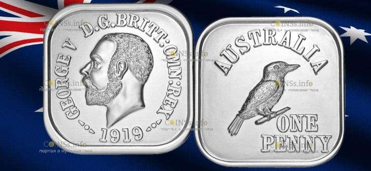 Австралия монета 1 пенни кукабарра