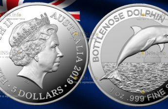 Австралия монета 5 долларов дельфин