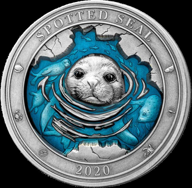 Барбадос монета 5 долларов Пестрая нерпа, реверс