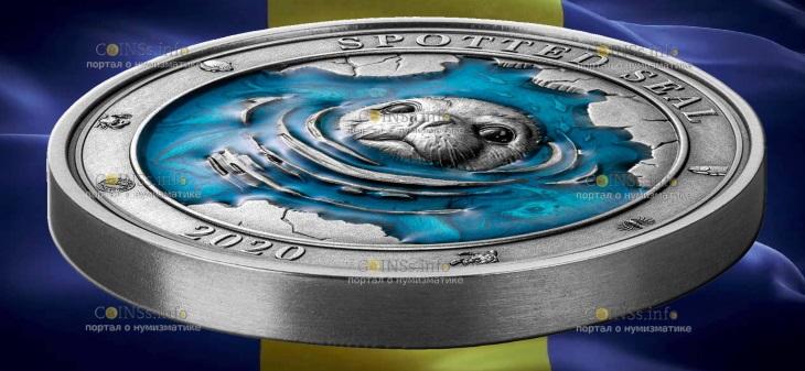 Барбадос монета 5 долларов Пестрая нерпа