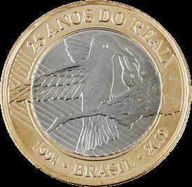 Бразилия монета 1 реал 25 лет введения реала, реверс