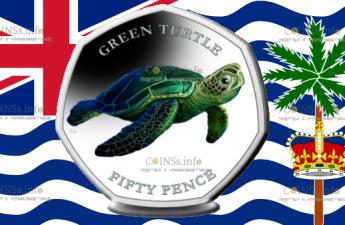 Британские территории в Индийском океане монета 50 пенсов Зеленая Черепаха