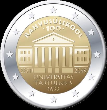Эстония монета 2 евро 100-летие Эстонского национального университета, реверс