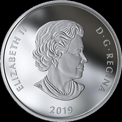 Канада монета 20 долларов Северное сияние над Парламентским холмом, аверс