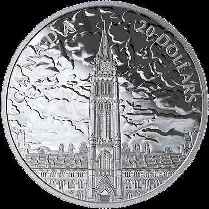 Канада монета 20 долларов Северное сияние над Парламентским холмом, реверс