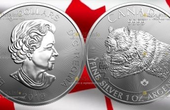 Канада монета 5 долларов Медведь Гризли