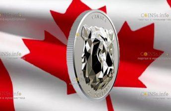 Канада отчеканила монету 25 долларов Медведь Гризли