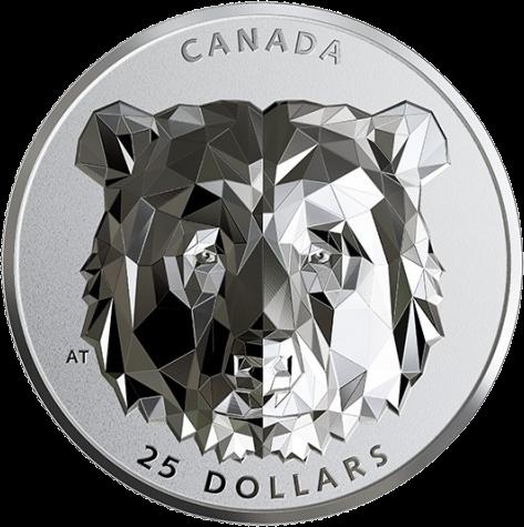 Канада отчеканила монету 25 долларов Медведь Гризли, реверс