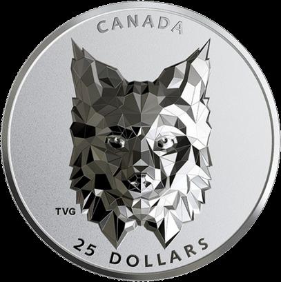 Канада отчеканила монету 25 долларов Рысь, реверс