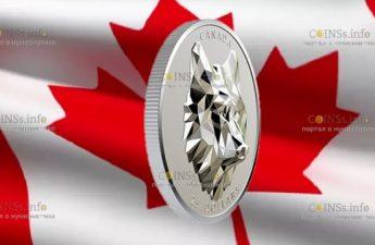 Канада отчеканила монету 25 долларов Волк