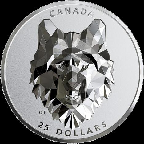 Канада отчеканила монету 25 долларов Волк, реверс
