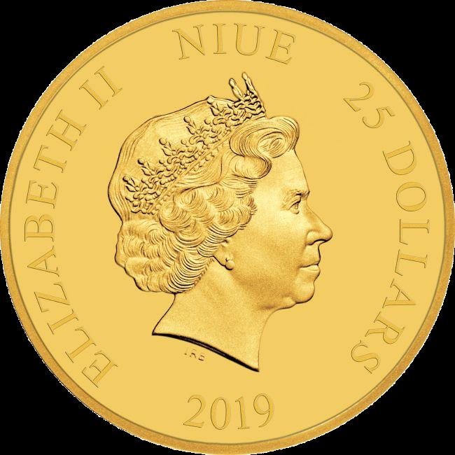 Ниуэ монета 25 доларов Дональ Дак и Пингвин, аверс