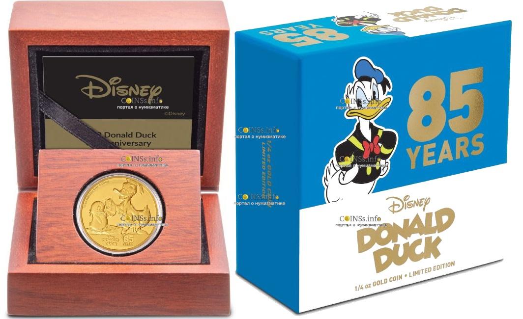 Ниуэ монета 25 доларов Дональ Дак и Пингвин, подарочная упаковка