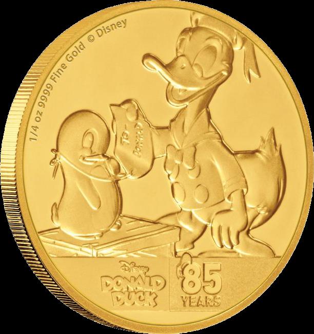 Ниуэ монета 25 доларов Дональ Дак и Пингвин, реверс