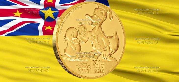 Ниуэ монета 25 доларов Дональ Дак и Пингвин