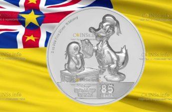 Ниуэ монета 5 доларов Дональ Дак и Пингвин