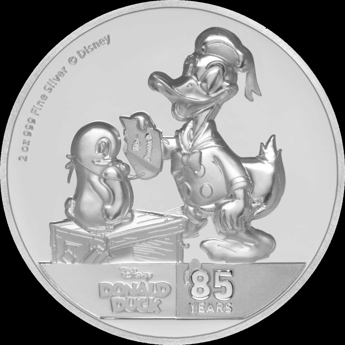Ниуэ монета 5 долларов Дональ Дак и Пингвин, реверс