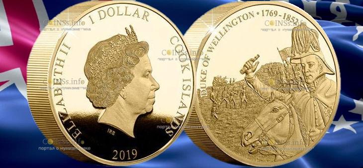 Острова Кука монета 1 доллар 250-летие со дня рождения герцога Веллингтона
