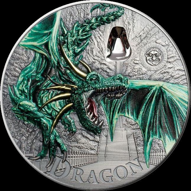 Палау монета 10 долларов Зеленый дракон, реверс