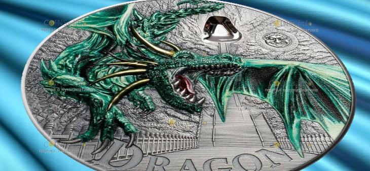 Палау монета 10 долларов Зеленый дракон