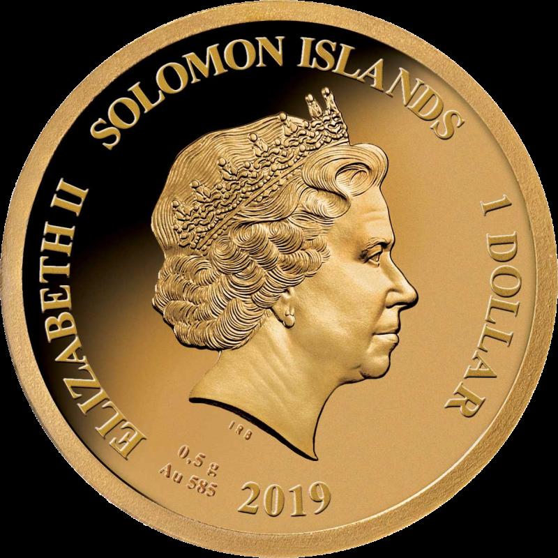 Соломоновы острова монета 1 доллар серия Смертельно & Опасно, аверс