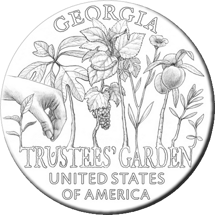 США монета 1 доллар Джорджия, реверс