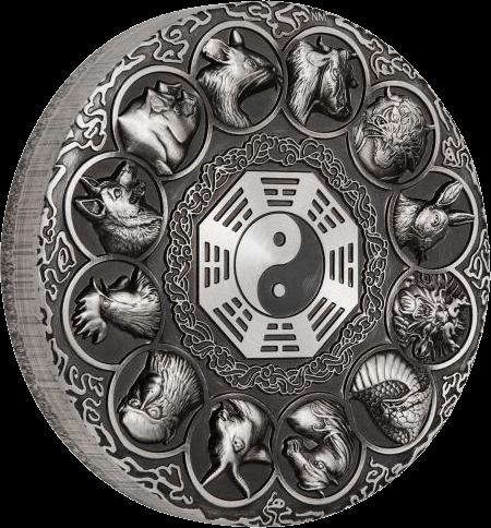 Тувалу монета 5 долларов 12 животных зодиака, реверс