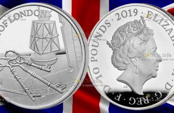 Великобритания монета 10 фунтов Лондонский Тауэр Церемония ключей 2019 года