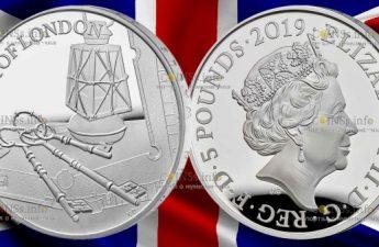 Великобритания монета 5 фунтов Лондонский Тауэр Церемония ключей 2019 года