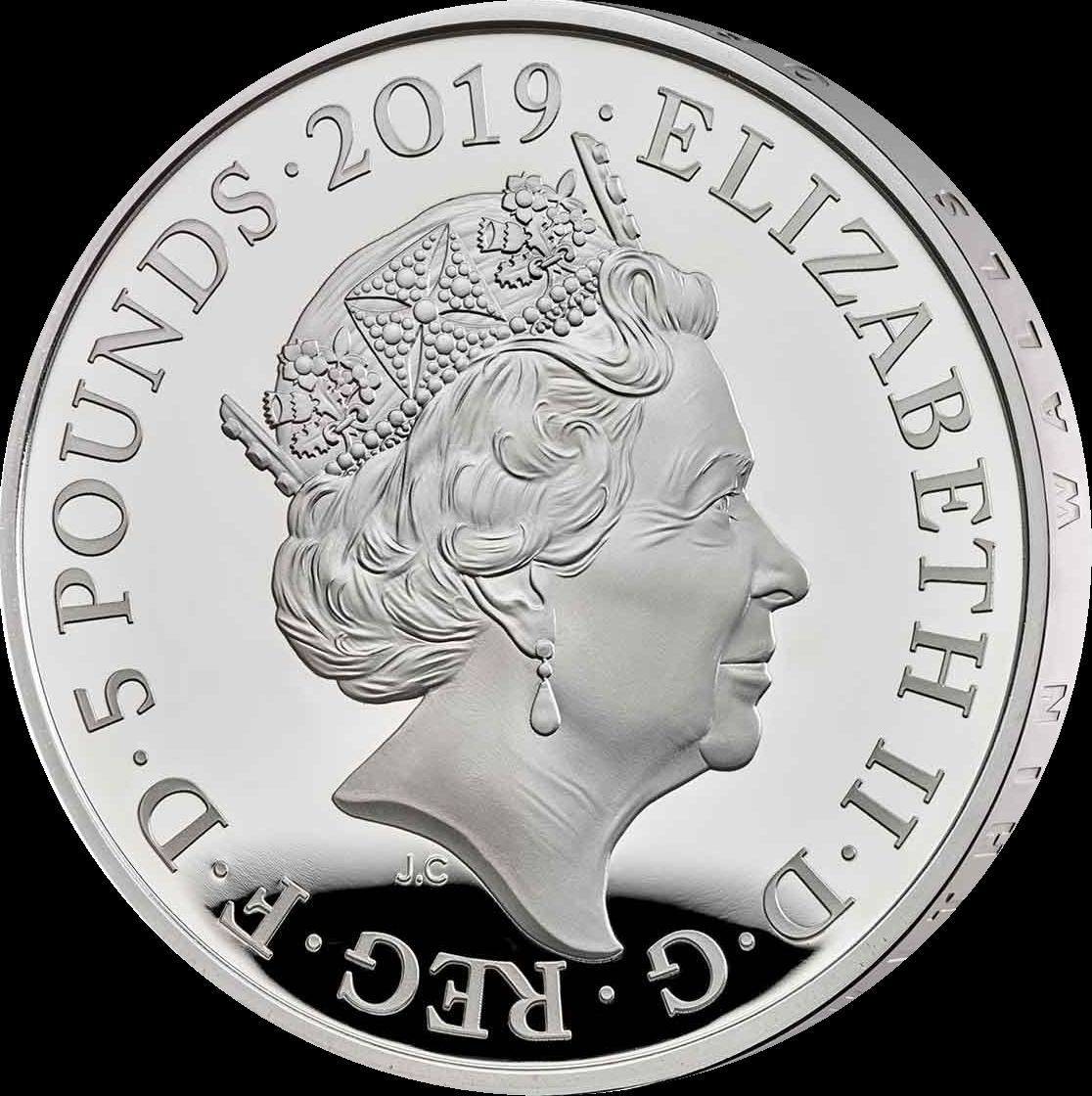 Великобритания монета 5 фунтов Лондонский Тауэр Церемония ключей 2019 года, аверс