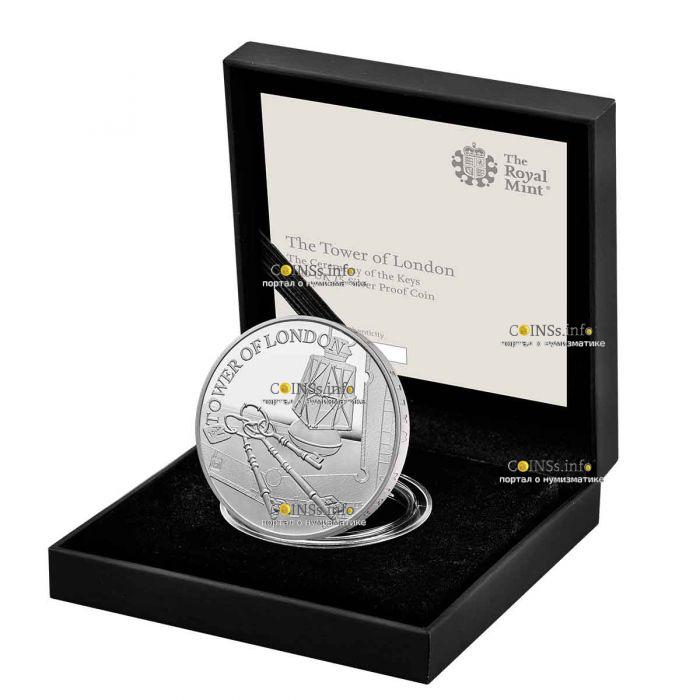 Великобритания монета 5 фунтов Лондонский Тауэр Церемония ключей 2019 года, подарочная упаковка
