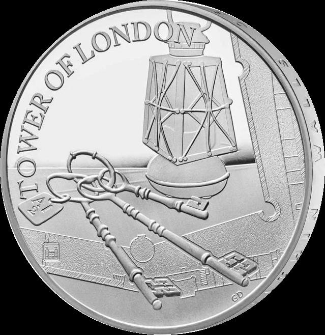 Великобритания монета 5 фунтов Лондонский Тауэр Церемония ключей 2019 года, реверс
