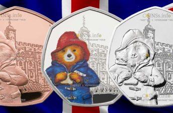 Великобритания монета 50 пенсов 60-летия медвежонка Паддингтона на фоне Лондонского Тауэра
