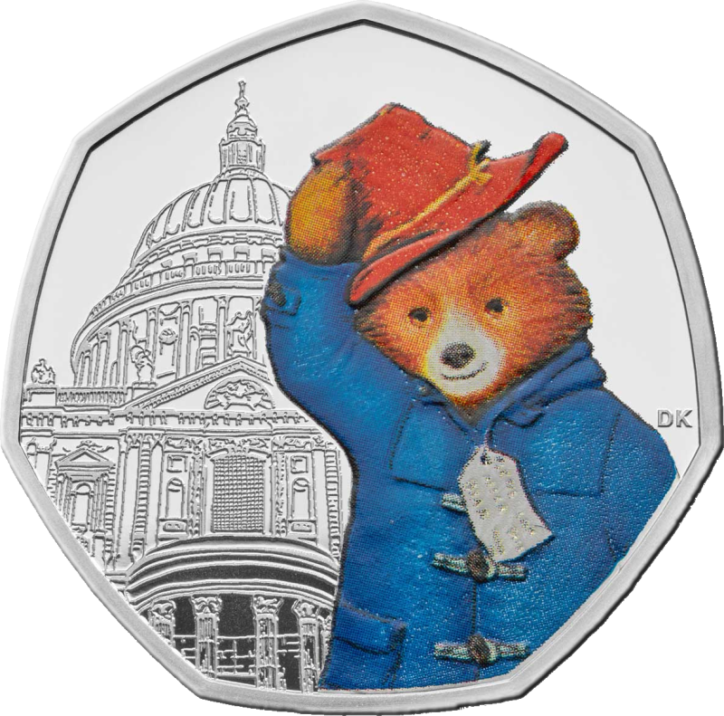 Великобритания монета 50 пенсов 60-летия медвежонка Паддингтона на фоне Собора Святого Павла, реверс