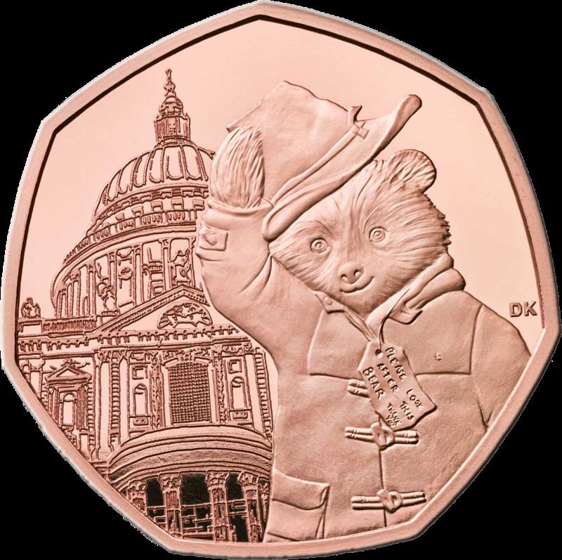 Великобритания монета 50 пенсов 60-летия медвежонка Паддингтона на фоне Собора Святого Павла, золото, реверс