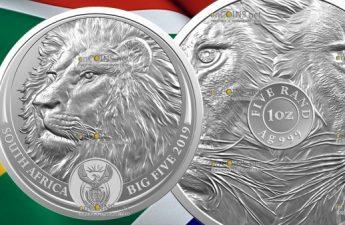 ЮАР монета 5 рэндов Лев