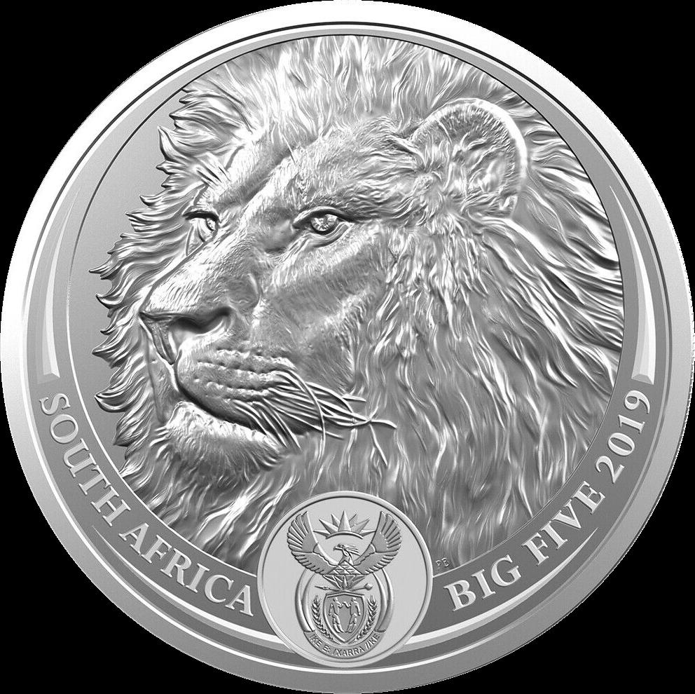 ЮАР монета 5 рэндов Лев, аверс