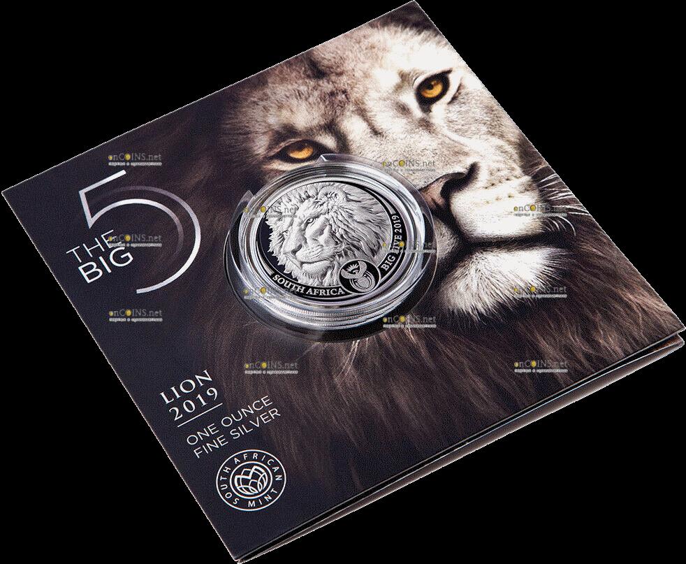 ЮАР монета 5 рэндов Лев, подарочная упаковка