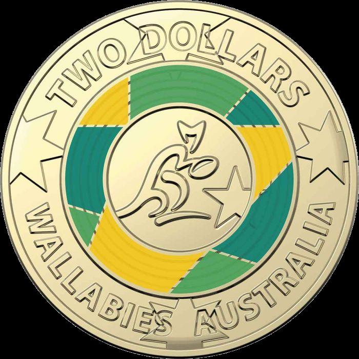 Австралия монета 2 доллара Чемпионат мира по регби 2019, реверс