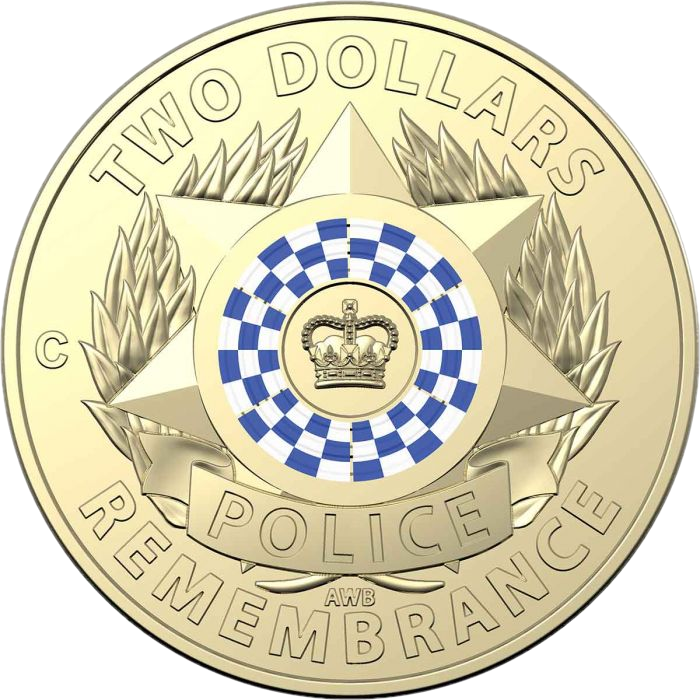 Австралия монета 2 доллара День памяти национальной полиции, реверс