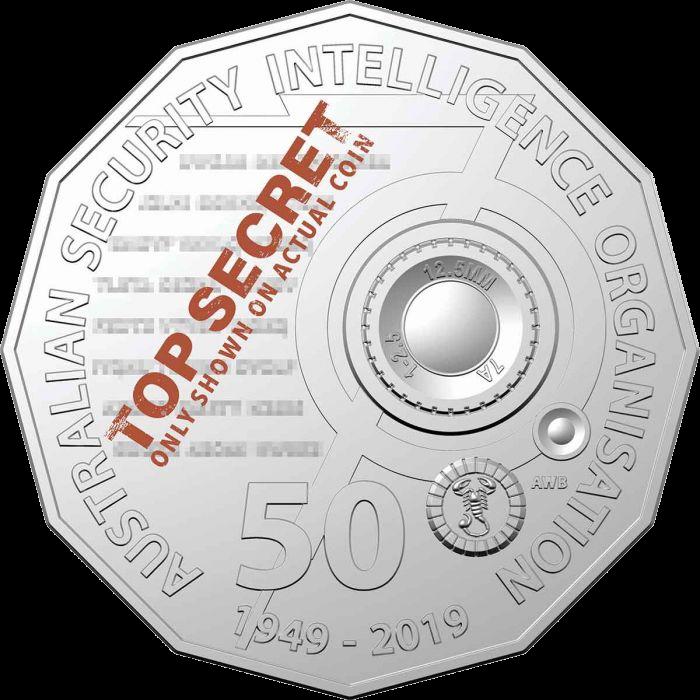 Австралия монета 50 центов 70-летия Австралийской организации разведки безопасности (ASIO), реверс