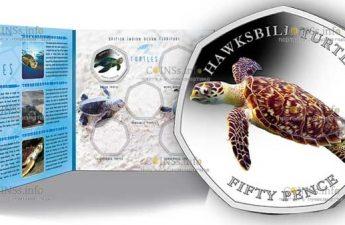 Британские территории в Индийском океане монета 50 пенсов Хоксбилл черепаха