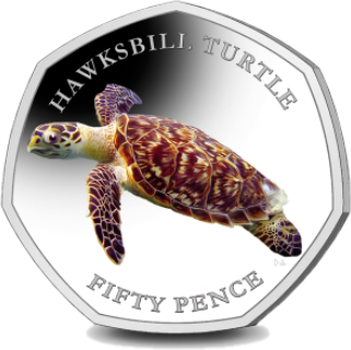 Британские территории в Индийском океане монета 50 пенсов Хоксбилл черепаха, реверс